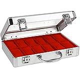 SAFE 266-1 ALU Uhrenaufbewahrungsbox Herren mit 18 Uhren-Schmuckhalter in rotem Samt - abschließbare Uhren Box mit Glasdeckel und abnehmbaren Uhrenkissen